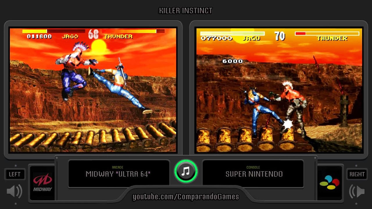 YouTube Killer Instinct (Arcade vs Snes) Side by Side Comparison