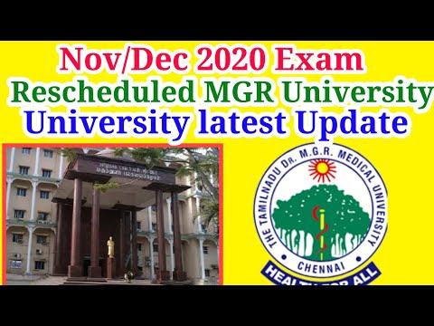 MGR University November December Theory Examination Reschedule & Postpone Exam Due Nivar Cyclone