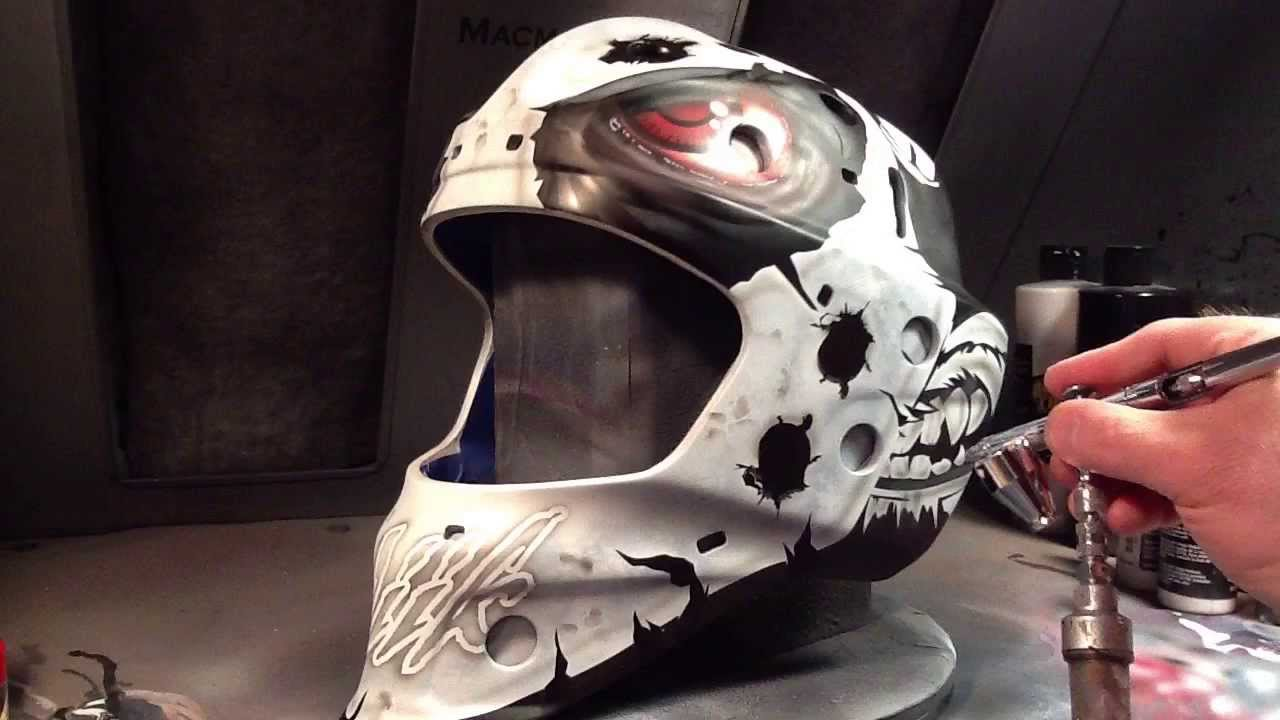 Airbrush Painting Goalie Mask Old Time Hockey Monster Design Youtube