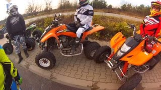Quad dirt riding on full speed / ATV Polaris Kawasaki Suzuki
