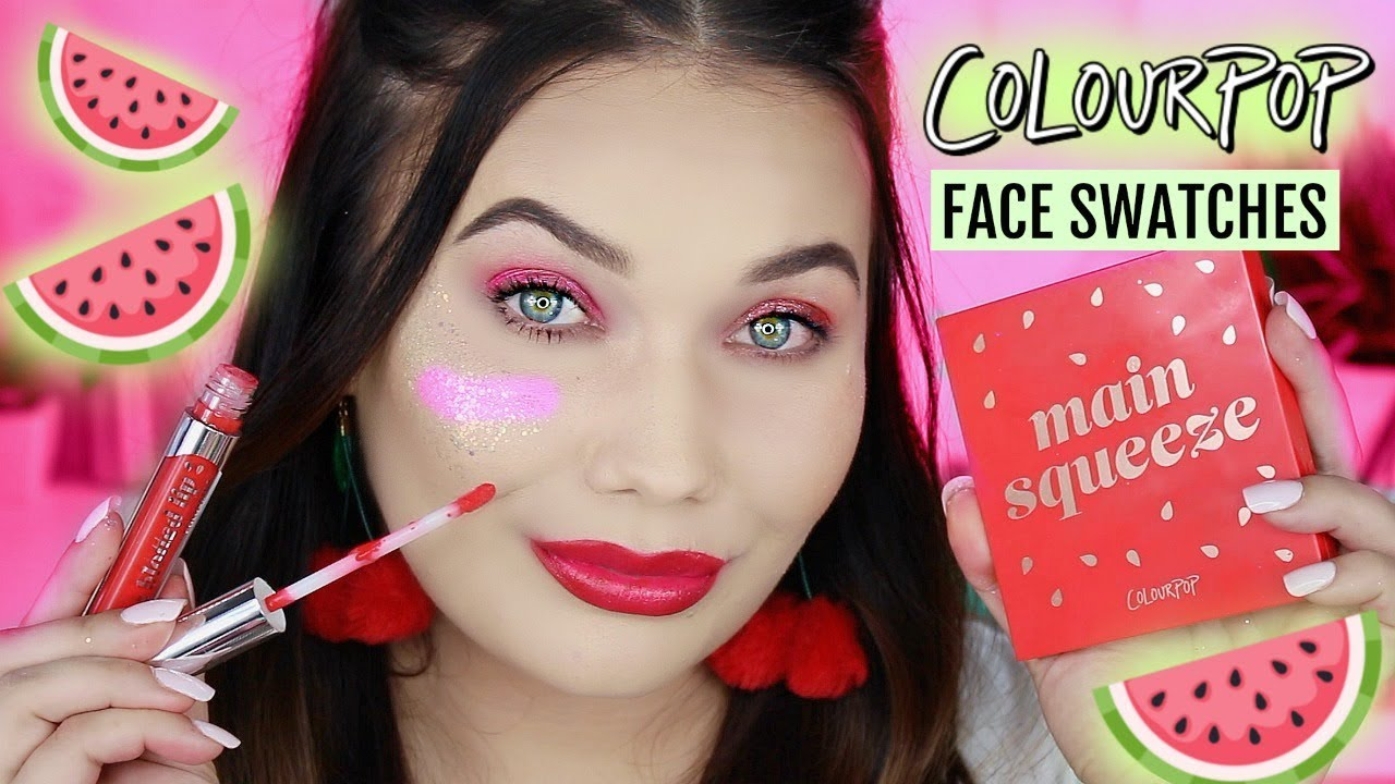 81af8d539 COLOURPOP WATERMELON COLLECTION FACE SWATCHES! - YouTube