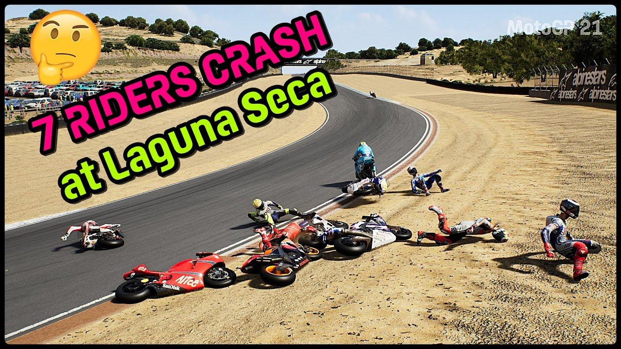 MotoGP 21   7 RIDERS CRASH AT LAGUNA SECA   TV REPLAY   MotoGP