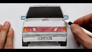 ️Как нарисовать машину Лада Самара ВАЗ-2115 (Ehedov Elnur) Masin resmi nece cekilir