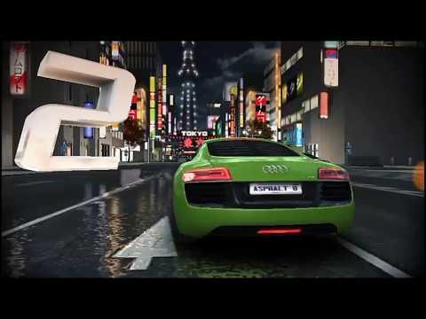 Asphalt 8 racing in the green Audi in Tokyo