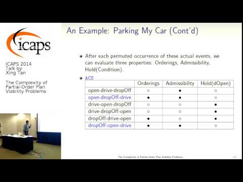 "ICAPS 2014: Xing Tan on ""The Complexity of Partial-Order Plan Viability Problems"""