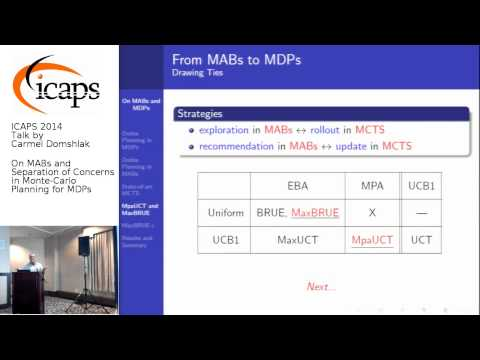 """ICAPS 2014: Carmel Domshlak on """"On MABs and Separation of Concerns in Monte-Carlo Planning for ..."""""""