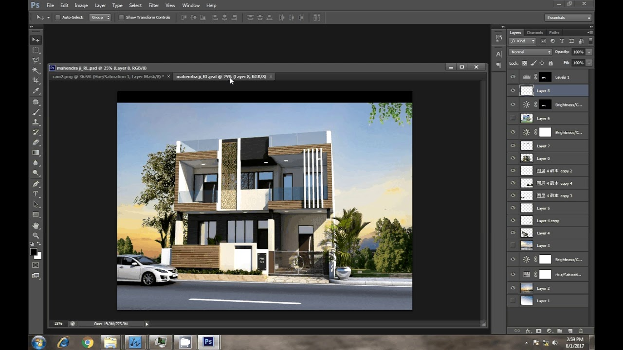 3d max architecture render to photoshop post editing