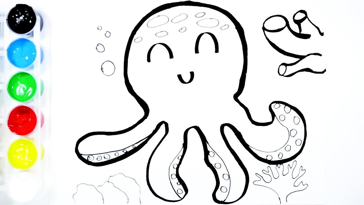 Octopus Drawing and Coloring For Kids | ToysPolis TV - YouTube