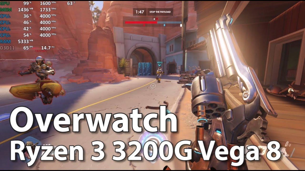 Ryzen 3 3200G Review - Overwatch - Gameplay Benchmark Test