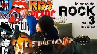 aprende a tocar LA BASE DEL ROCK en 3 NIVELES!! l Guitarra para principiantes e intermedios.
