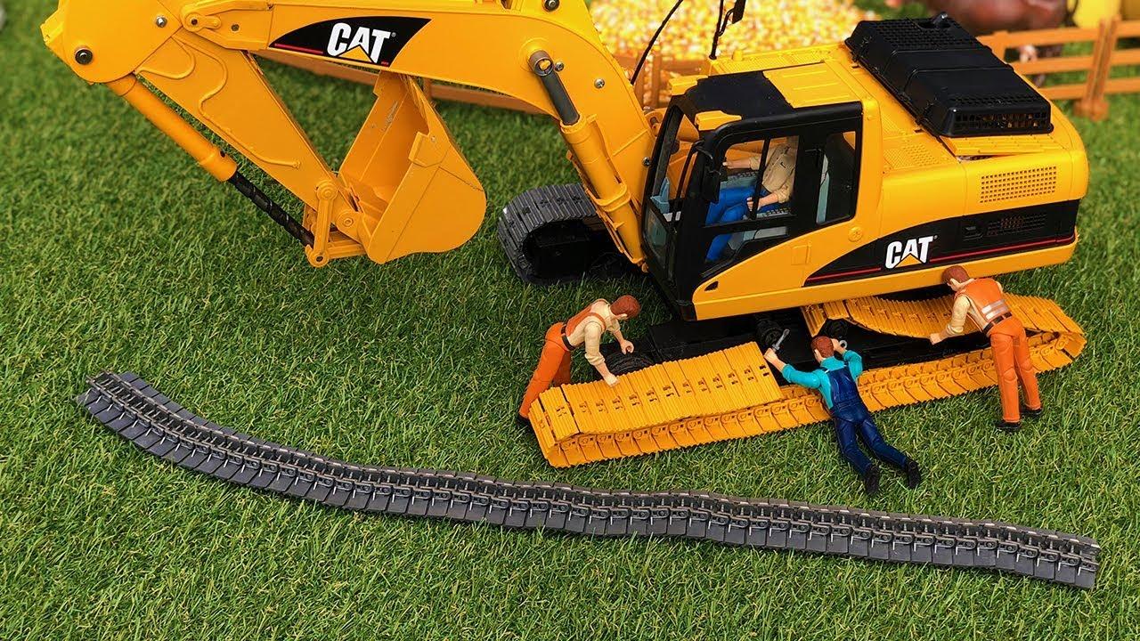 BRUDER excavator in TROUBLE! JCB Backhoe RC toys action for kids!