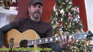 Santa Claus is Coming to Town - How to play on acoustic guitar Christmas song beginner lesson