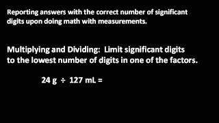 Rules for reporting sig figs upon addition, subtraction, multiplication or division.