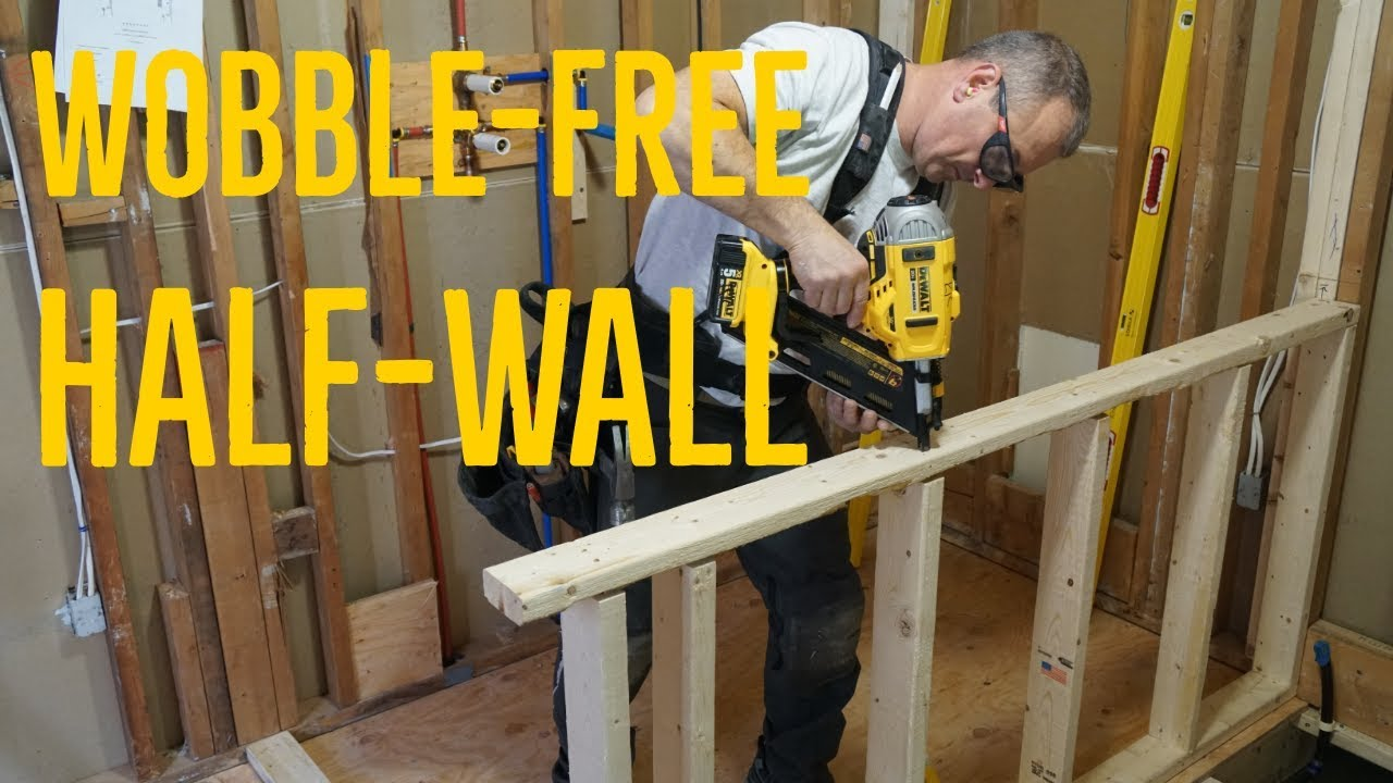 Building A Strong Half Wall Avoiding The Wobble Youtube   Half Wall Staircase Design   Railing   Limited Space Small Stair   Kitchen   Closed   Contemporary