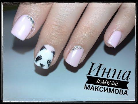 Фото панда на ногтях