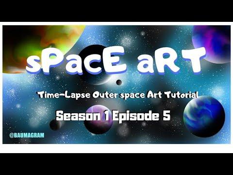 Space Art S1E5 - Blue Waves - Computer time lapse Space art tutorial thumbnail