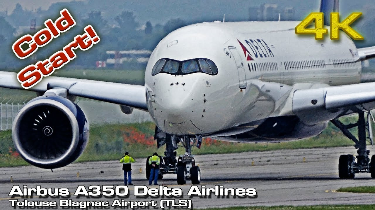 Airbus A350 XWB Delta Airlines [4K ] Cold Start (Close View)
