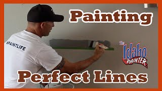 Painting Straight Lines With Caulking And Tape.  Painting stripes.  Painting Hacks.