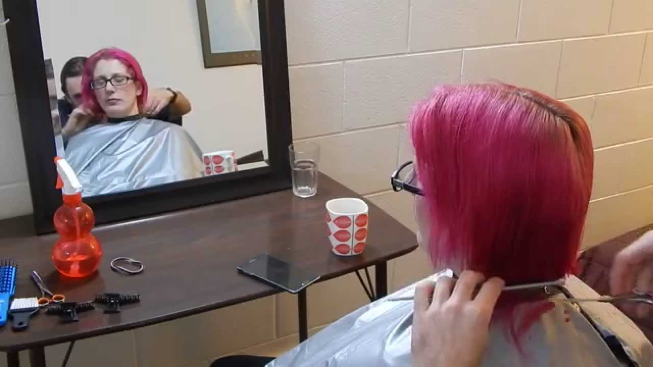Shoulder length pink hair to bob to spiky short haircut transformation18  likes for another clip