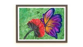 How To Paint A Butterfly | Kelebek Nasıl çizilir | Akrilik Boyama