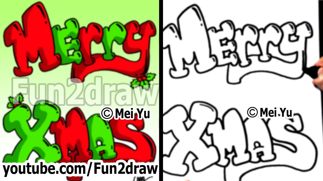 how to draw graffiti letters merry xmas with christmas holly easy things to draw fun2draw