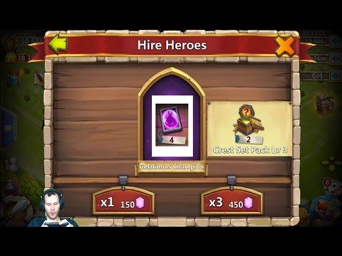 22k Gems For Heroes Opening Level 3 Crest Set Packs Castle Clash