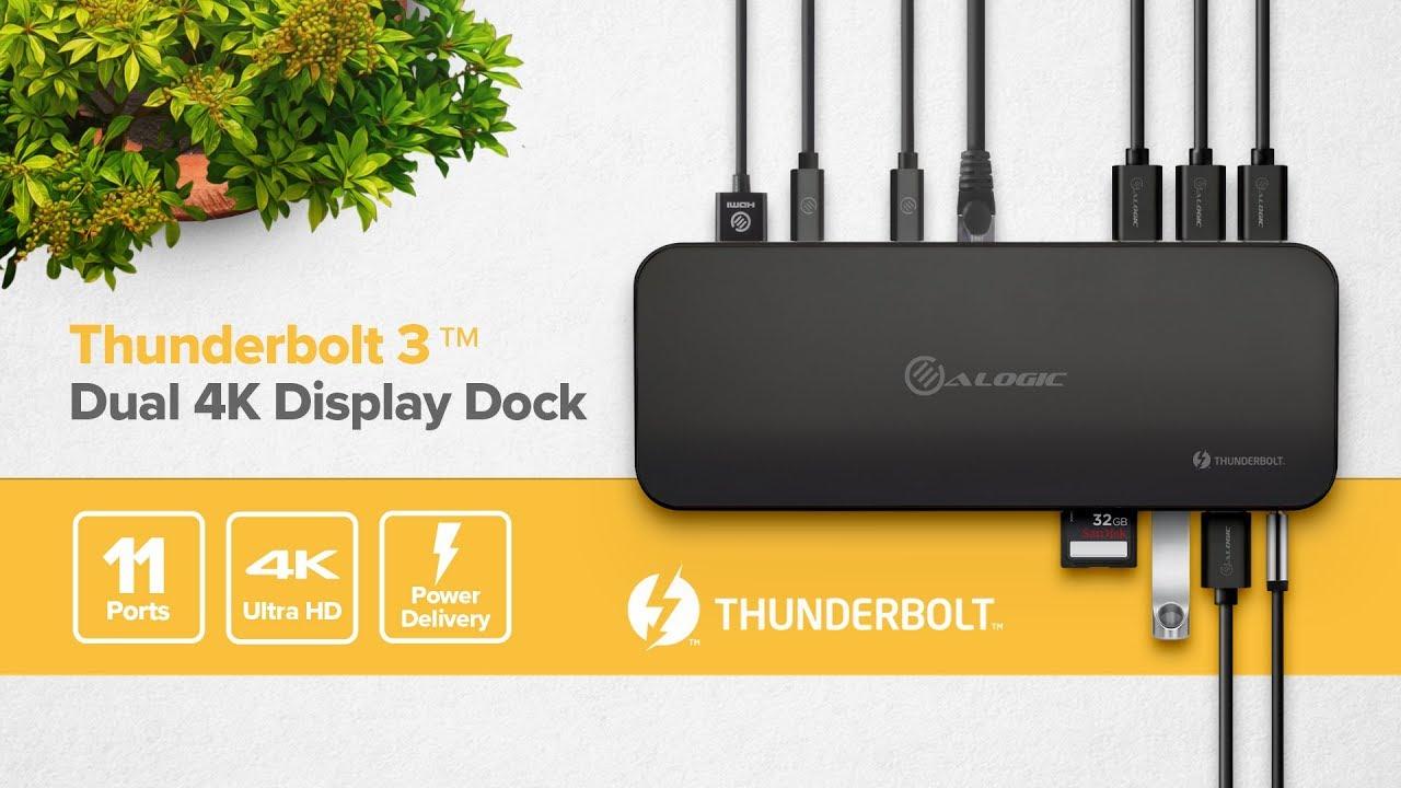 ALOGIC ThunderBolt 3 Dual Display Docking Station W/ 4K & Power Delivery