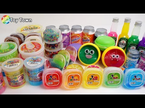 SLIME Collection Review with Giant Color Jelly Monster Crunch Pearl Cheese Macaron Clear Obeez Open
