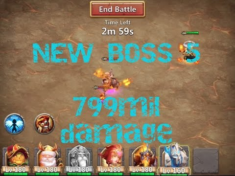 Castle Clash: NEW BOSS 5 Full Run - Over 799mil Damage - EASY FIRST PLACE