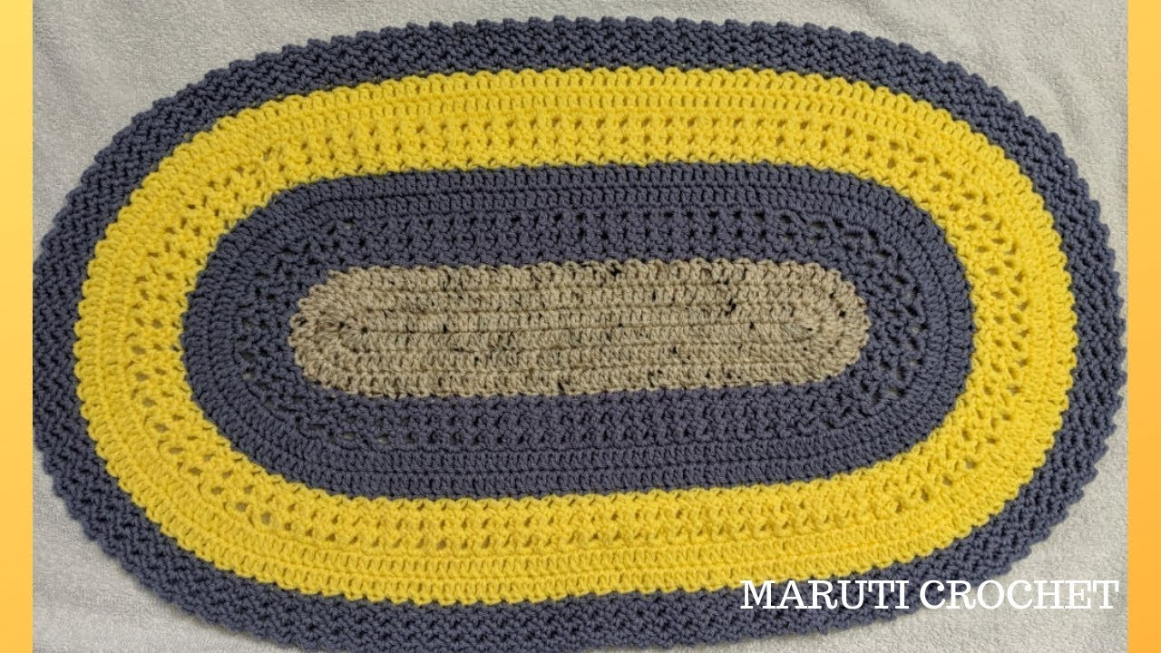 Oval Shaped Crochet Rug Mat Carpet Step