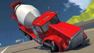 CAN CEMENT TRUCKS FLY? - BeamNG.Drive Ski Jump Mod