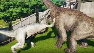 INDOMINUS REX Vs APATOSAURUS,BRACHIOSAURUS,CAMARASAURUS,MAMENCHISAURUS - Jurassic World Evolution