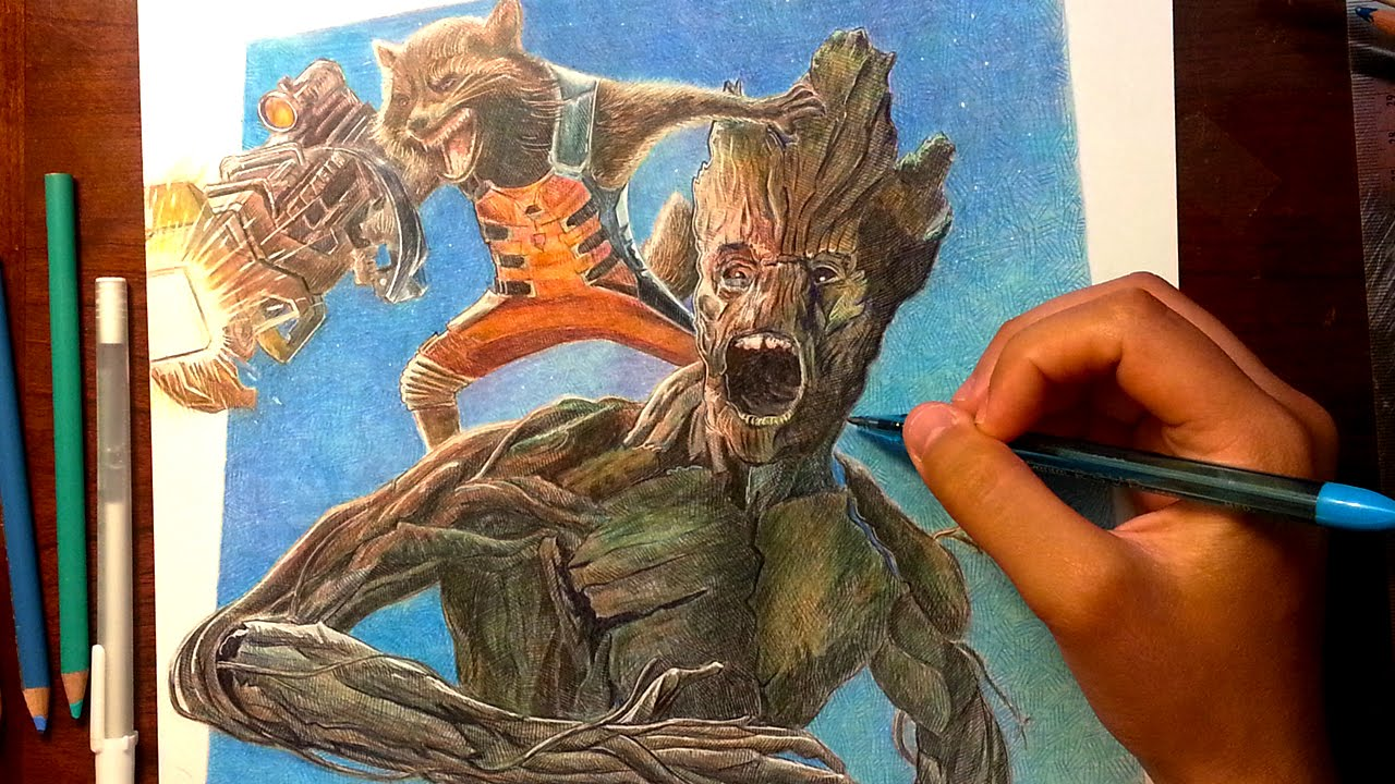 Guardians Of The Galaxy Rocket Groot Drawing Youtube
