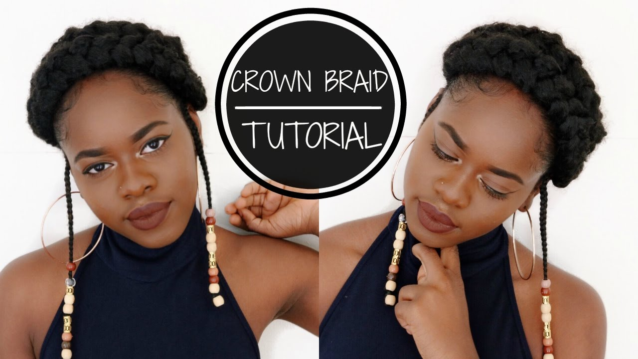 Crown Braid W Beads Tutorial For Short Natural Hair Youtube