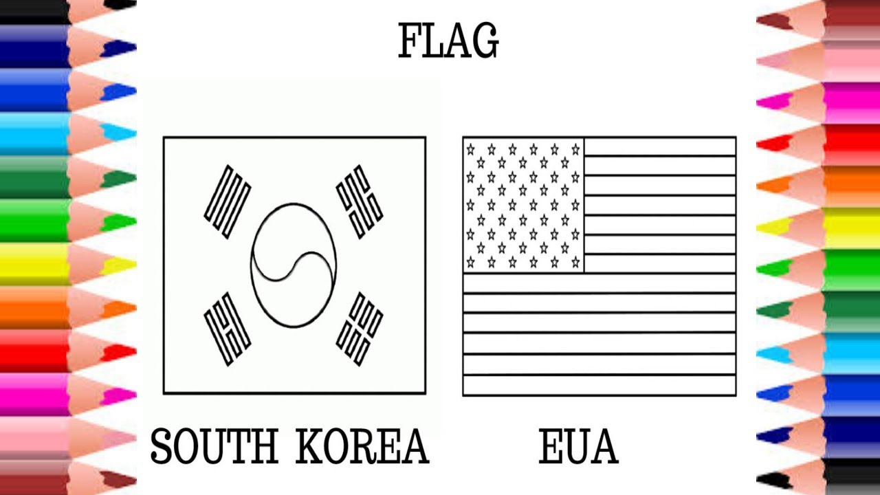 flag national south korea and usa coloring pages for kids learn colors with flags