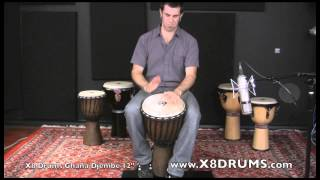 X8 Drums West Africa Ghana Djembe Drum, Adult Size