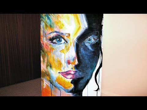 Colourful face abstract portrait acrylic painting