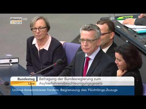 Bundestag: Befragung von Thomas de Maizière zum Flüchtlingspaket der Bundesregierung am 30.09.2015
