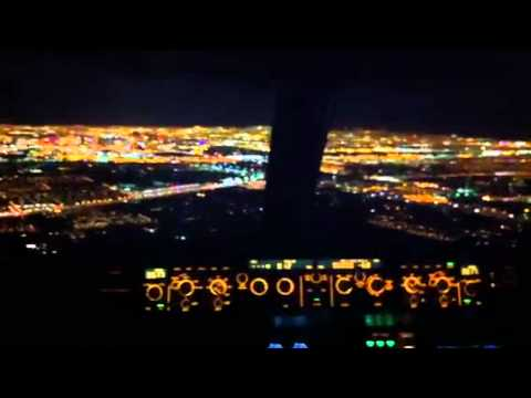 A380 Wallpaper Hd A320 Night Approach Amp Landing In Las Cockpit View Youtube