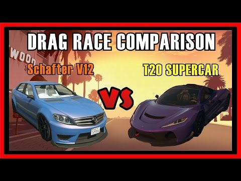 GTA 5 PS4 - Schafter V12 Sports Vs T20 Supercar Drag Race Comparison | Which is fastest? (GTA V)