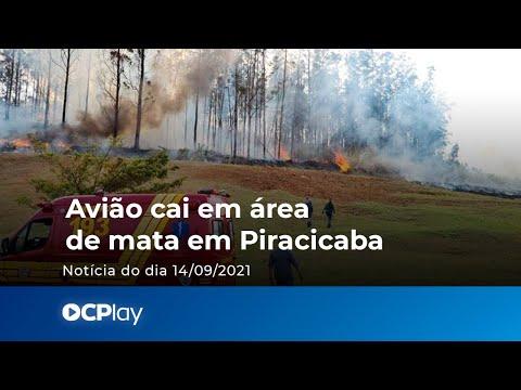 Avião cai em área de mata em Piracicaba