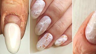 Покрытию 7 недель Мраморный маникюр Текстура камня кварц Нежный дизайн ногтей 2020