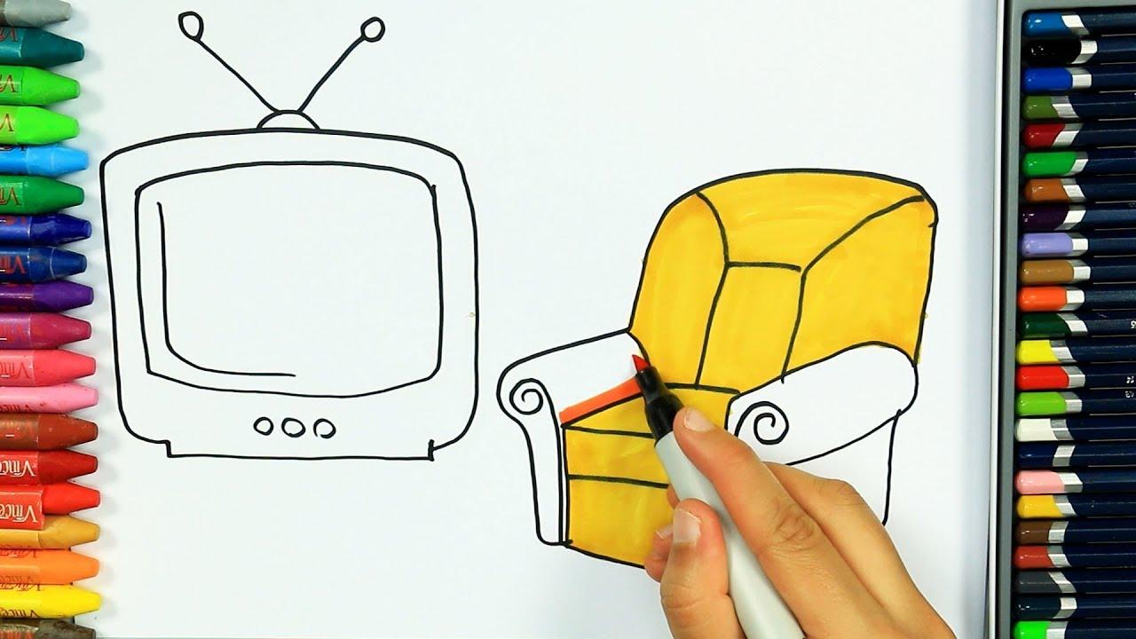 Disegno Televisione Da Colorare.Come Disegnare E Colorare Televisione Colori Disegno