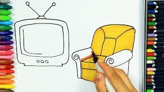 Come disegnare e colorare televisione 📺   Colori   Disegno   Colorare   Come colorare per bambini