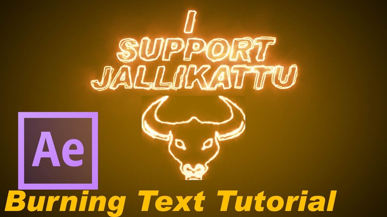 After effects tutorial jallikattu burning text saber effect