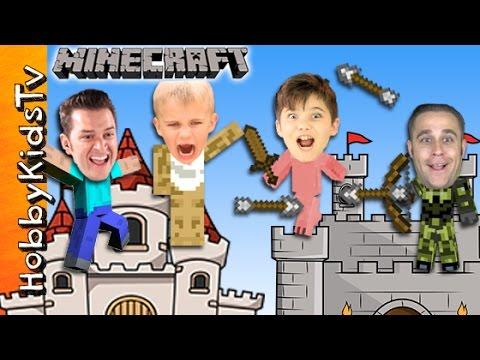 MINECRAFT Castle Challenge Build! Diamond Hunt + Real Bow and Arrow Battle Skit with HobbyKidsTV