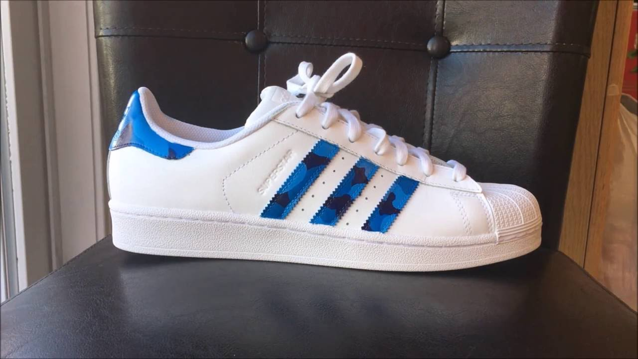 Custom Blue Camo Adidas Superstar s w  How To!! - YouTube 67e7ccc98b17
