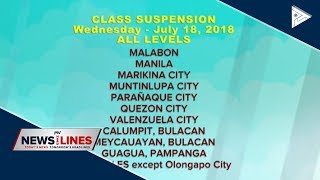 Class suspension on July 18 due to bad weather brought by Habagat