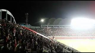 Aksi suporter indonesia menyanyikan lagu indonesia raya | indonesia vs puerto rico