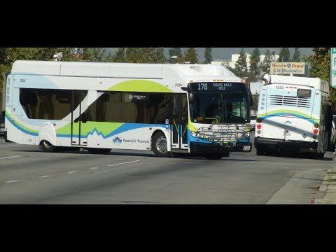 Foothill Transit CA: 2016-17 New Flyer XN40 Routes 194 & 178 Buses #2522 #2428 at Valley Blvd